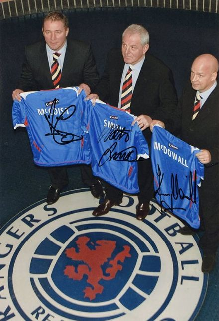 McCoist, Smith, McDowall, Rangers, signed 12x8 inch photo.
